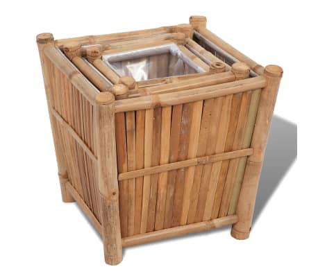 vidaXL Planter Set 3 Pieces Bamboo with Nylon Lining[3/6]