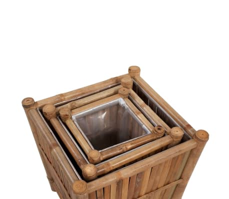 vidaXL Planter Set 3 Pieces Bamboo with Nylon Lining[4/6]