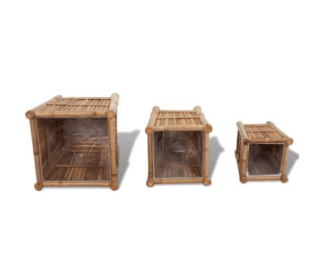 vidaXL Planter Set 3 Pieces Bamboo with Nylon Lining[5/6]