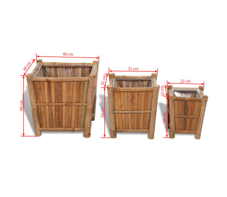 vidaXL Planter Set 3 Pieces Bamboo with Nylon Lining[6/6]