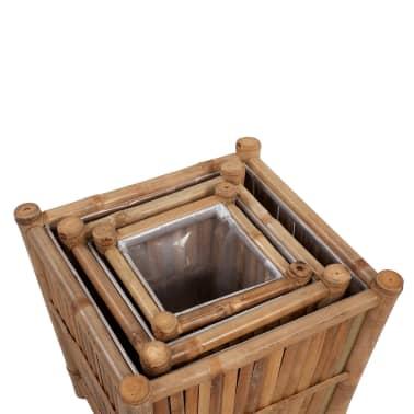 vidaXL 3 st Plantenbakken bamboe met nylon binnenkant[4/6]