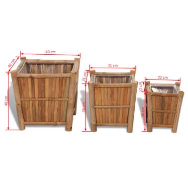 Blumenkasten aus Bambus mit Nylon Innenverkleidung (3 Stück)[6/6]