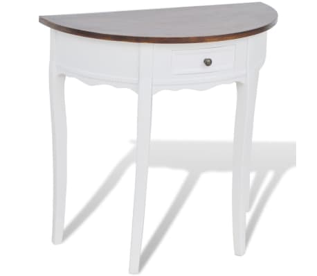 vidaxl table console avec tiroir et dessus de table marron demi ronde. Black Bedroom Furniture Sets. Home Design Ideas