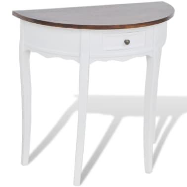 vidaXL Konsolinis staliukas su stalčiuku, rudas stalviršis, pusapvalis[1/4]