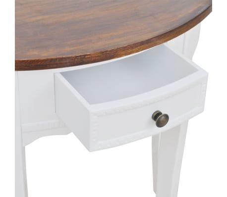 vidaXL Konsolinis staliukas su stalčiuku, rudas stalviršis, pusapvalis[3/4]