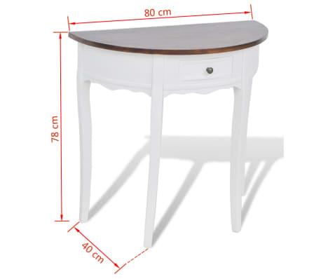 vidaXL Konsolinis staliukas su stalčiuku, rudas stalviršis, pusapvalis[4/4]