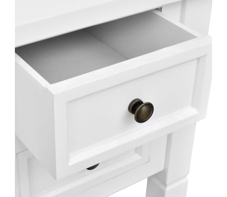 White Writing Desk with 5 Drawers[5/6]