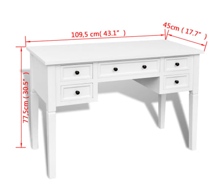 White Writing Desk with 5 Drawers[6/6]