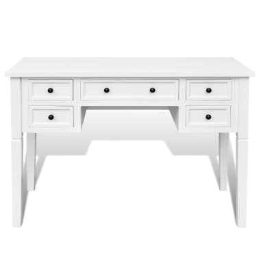 White Writing Desk with 5 Drawers[3/6]