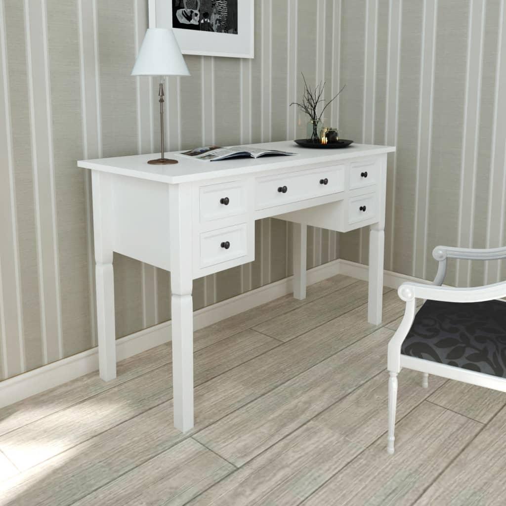vidaXL Γραφείο με 5 Συρτάρια Λευκό