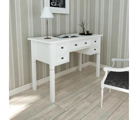 White Writing Desk with 5 Drawers[1/6]