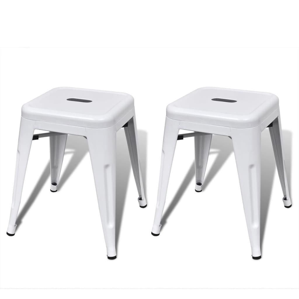 Stohovatelné stoličky 2 ks bílé kov