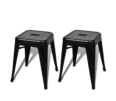 vidaXL Stools 2 pcs Stackable Metal Black[1/5]