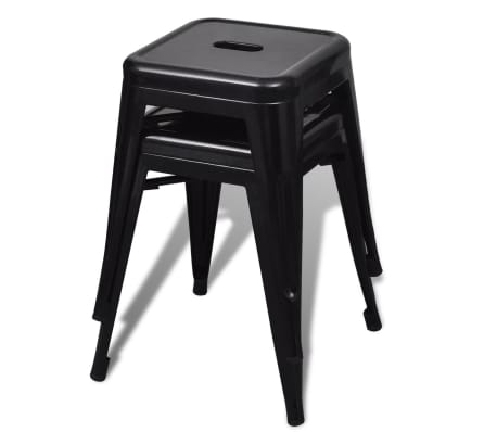 vidaXL Stools 2 pcs Stackable Metal Black[2/5]