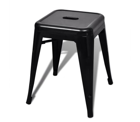 vidaXL Stools 2 pcs Stackable Metal Black[4/5]
