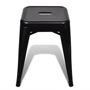 vidaXL Stools 2 pcs Stackable Metal Black[3/5]