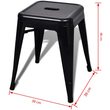 vidaXL Stools 2 pcs Stackable Metal Black[5/5]