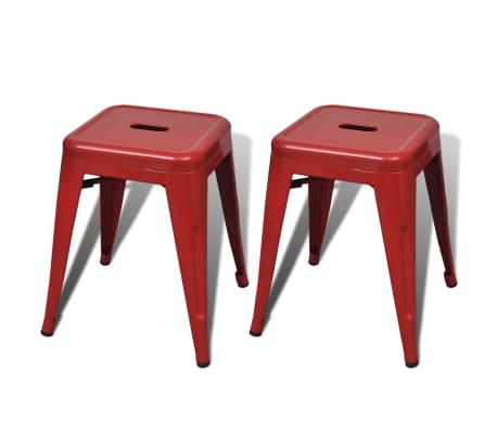 vidaXL Стифиращи табуретки, 2 бр, червени, метал
