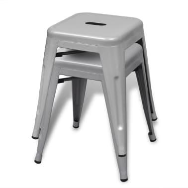 vidaXL Stools 2 pcs Stackable Metal Gray[2/5]