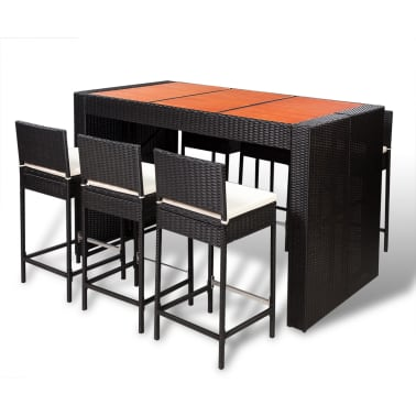 acheter vidaxl ensemble de bar 13 pcs r sine tress e dessus de table bois noir pas cher. Black Bedroom Furniture Sets. Home Design Ideas