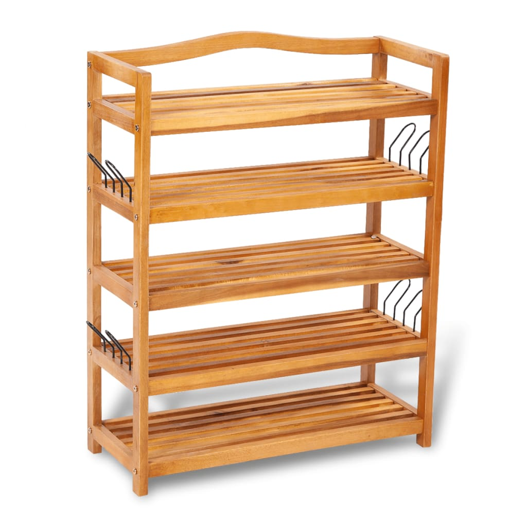 vidaXL Wooden 5-tier Shoe Shelf