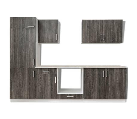 vidaXL Jeu d'armoires de cuisine avec frigo encastré 7 pcs Wengé[3/4]
