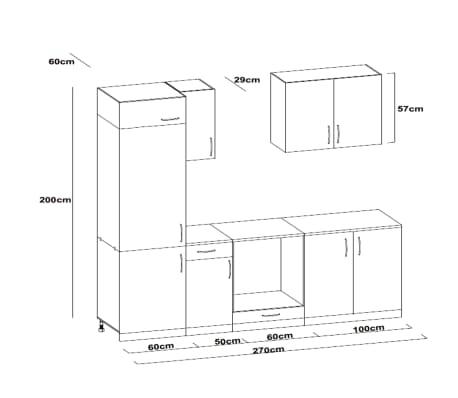 vidaXL Jeu d'armoires de cuisine avec frigo encastré 7 pcs Wengé[4/4]