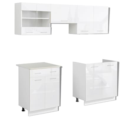 set de 5 meubles de cuisine blanc brillant 200 cm. Black Bedroom Furniture Sets. Home Design Ideas