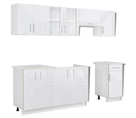 k chenzeile in wei er hochglanzoptik 240 cm g nstig kaufen. Black Bedroom Furniture Sets. Home Design Ideas