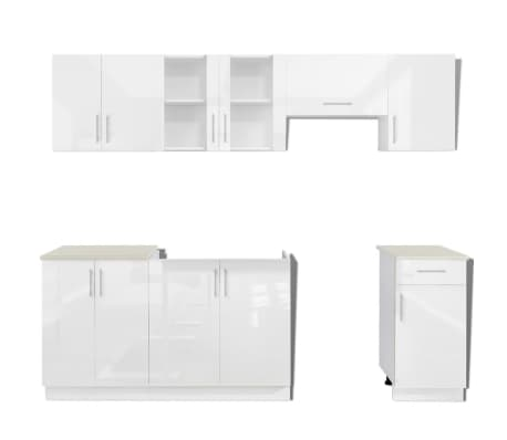 vidaxl k chenzeile 7 tlg hochglanz wei 240 cm g nstig kaufen. Black Bedroom Furniture Sets. Home Design Ideas