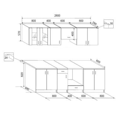 vidaXL Keukenkastenset 260 cm hoogglans wit 8-delig[4/4]