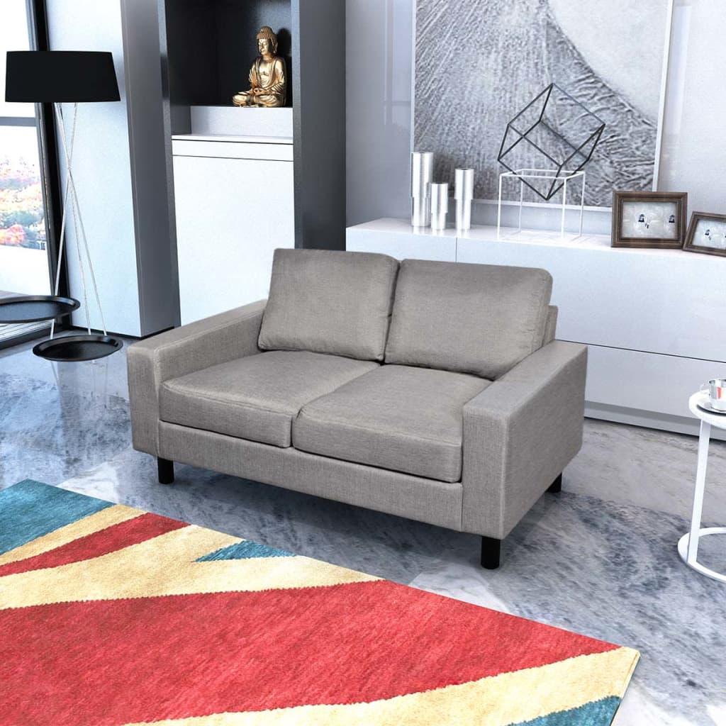 vidaXL Pohovka dvojmístná textilní světle šedá