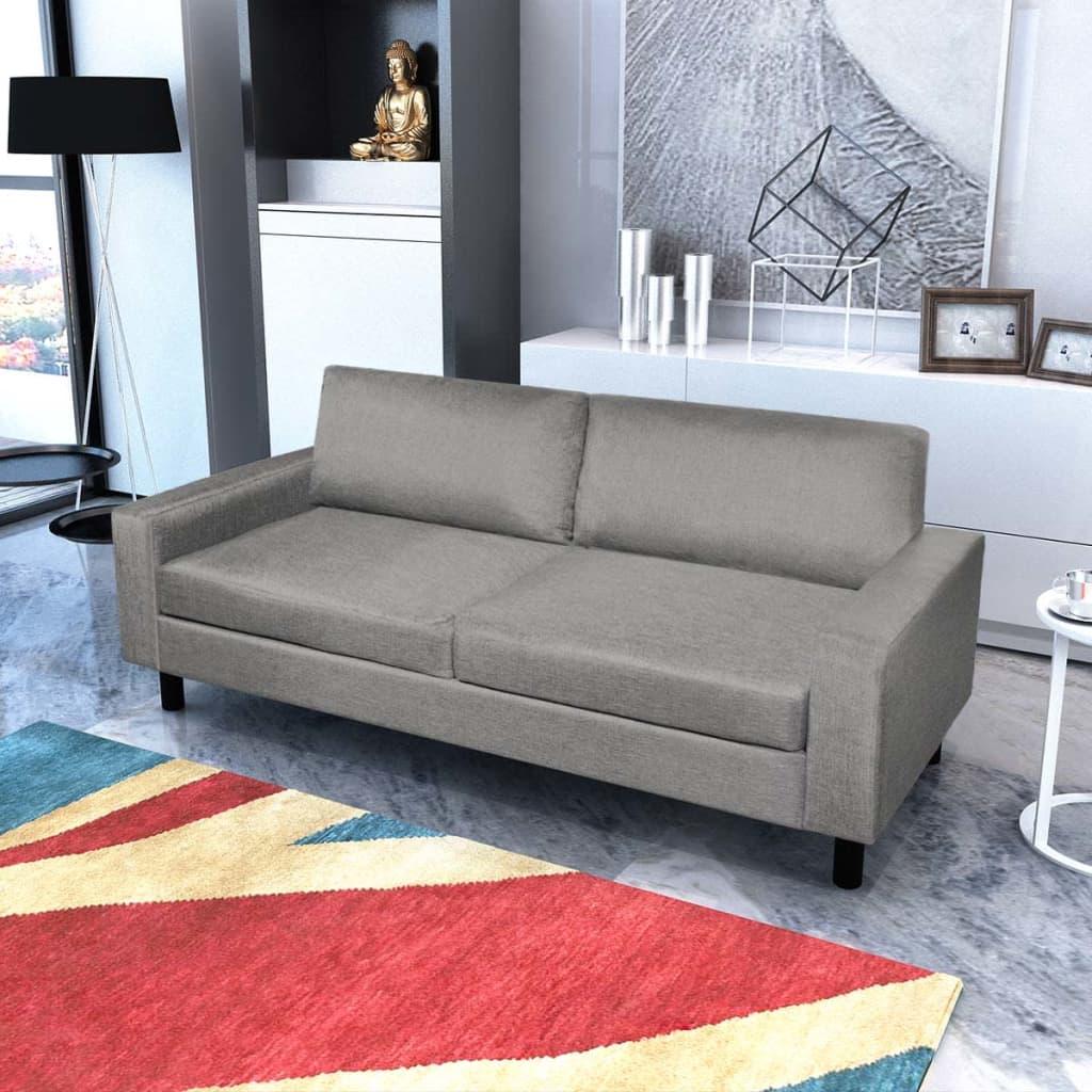 vidaXL Pohovka trojmístná textilní světle šedá