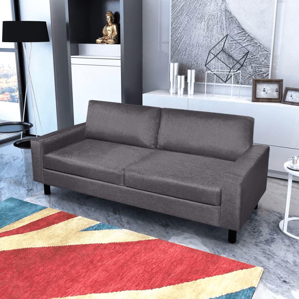 vidaXL Pohovka trojmístná textilní tmavě šedá