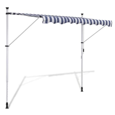 vidaXL Retractable Awning 350 cm Manually-operated Blue/White[1/9]