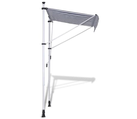 vidaXL Retractable Awning 350 cm Manually-operated Blue/White[3/9]