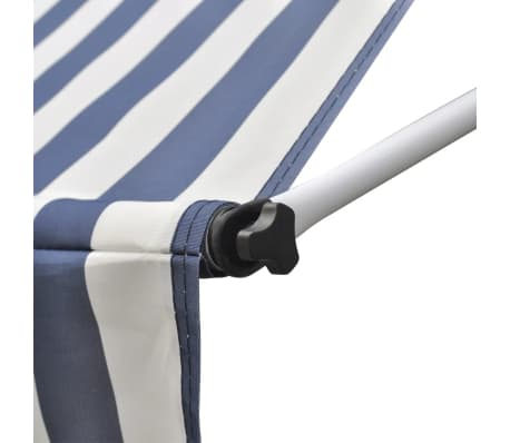 vidaXL Retractable Awning 350 cm Manually-operated Blue/White[6/9]