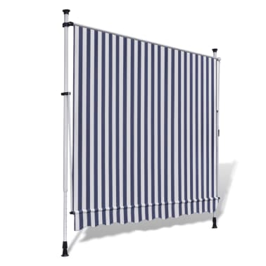 vidaXL Retractable Awning 350 cm Manually-operated Blue/White[4/9]