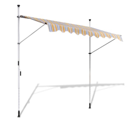 vidaXL Retractable Awning 200 cm Manually-operated Yellow/Blue[1/9]