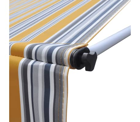 vidaXL Retractable Awning 200 cm Manually-operated Yellow/Blue[6/9]