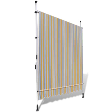 vidaXL Retractable Awning 200 cm Manually-operated Yellow/Blue[4/9]