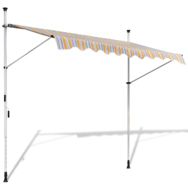vidaXL Retractable Awning 250 cm Manually-operated Yellow/Blue[1/9]