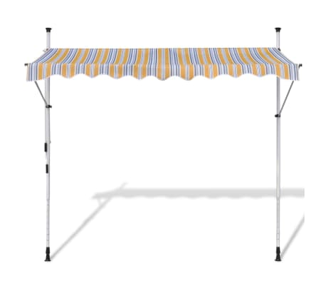 vidaXL Retractable Awning 250 cm Manually-operated Yellow/Blue[2/9]