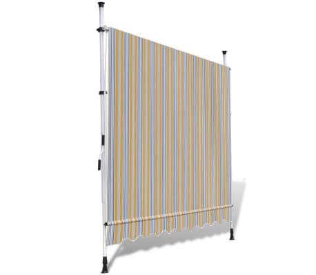 vidaXL Retractable Awning 250 cm Manually-operated Yellow/Blue[4/9]