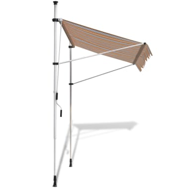 vidaXL Retractable Awning 250 cm Manually-operated Yellow/Blue[3/9]
