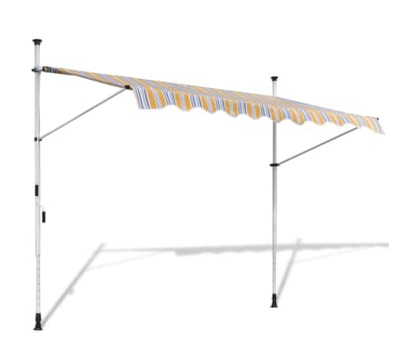 vidaXL Retractable Awning 400 cm Manually-operated Yellow/Blue[1/9]