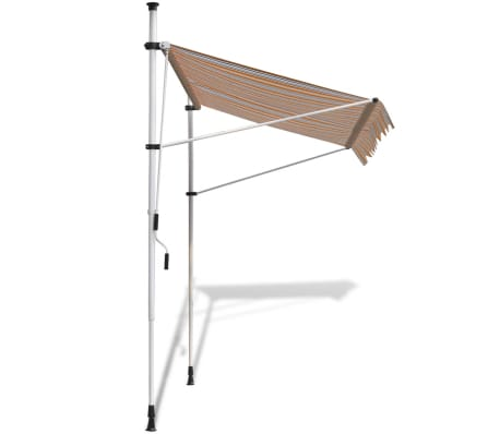 vidaXL Retractable Awning 400 cm Manually-operated Yellow/Blue[3/9]