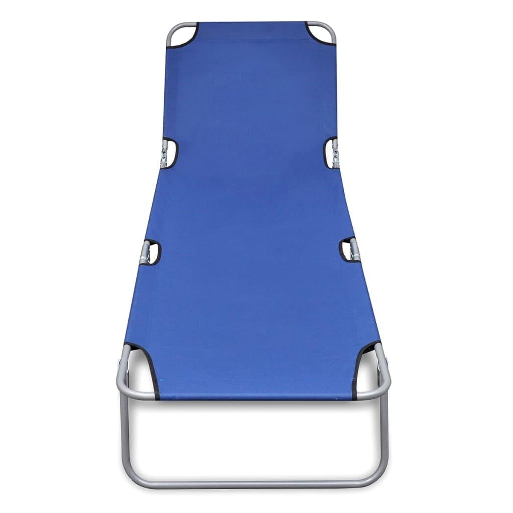 vidaXL Ligbed inklapbaar gepoedercoat staal blauw