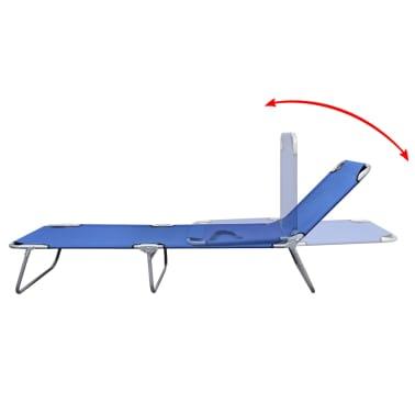 vidaXL Folding Sun Lounger Powder-coated Steel Blue[3/6]