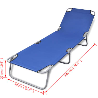 vidaXL Folding Sun Lounger Powder-coated Steel Blue[6/6]